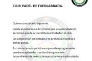 Comunicado Club Padel Fuenlabrada